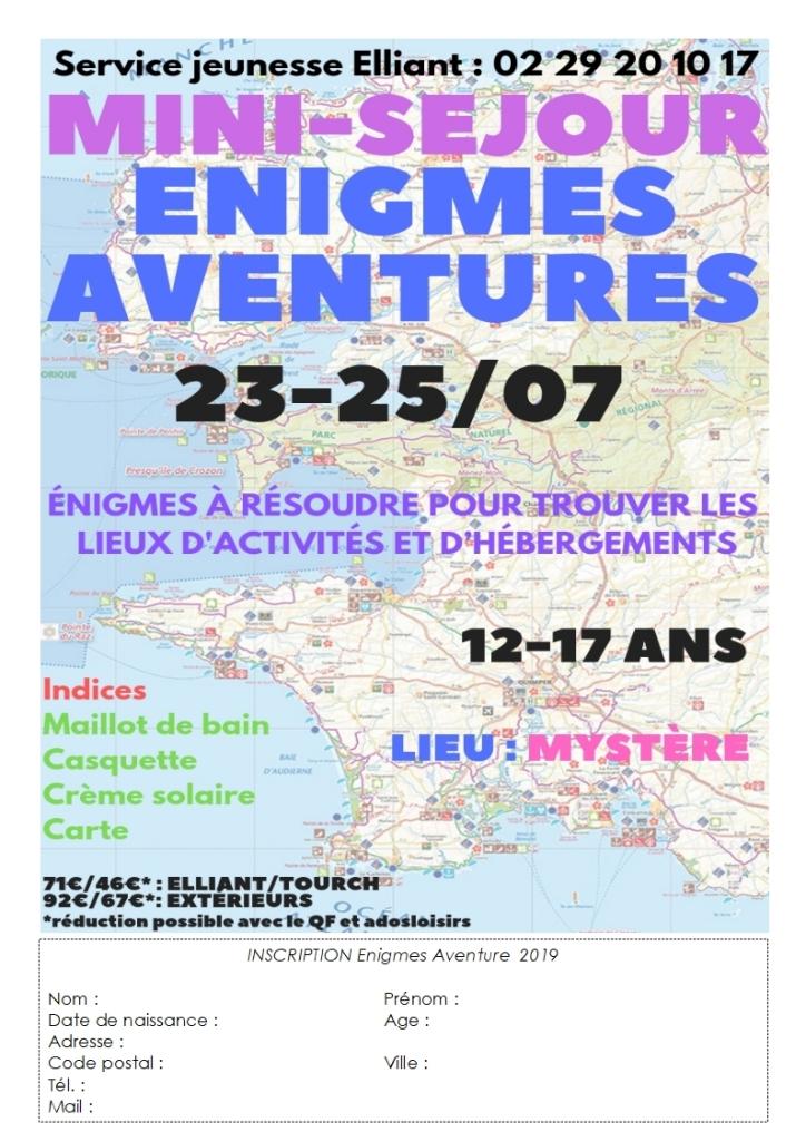 Bulletin d'inscription enigmes aventures