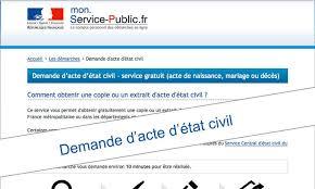 Demande d'acte d'état civil en ligne