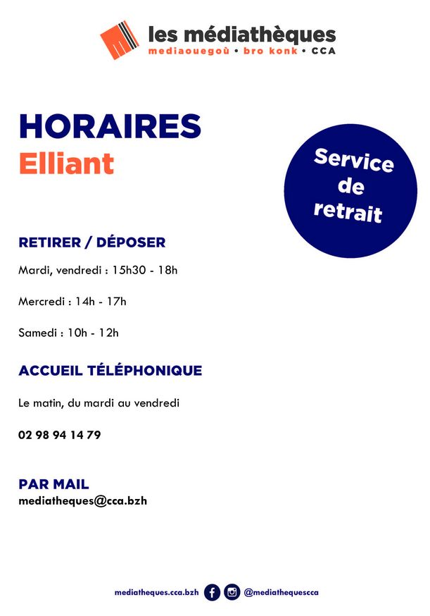 horaires médiathèque Elliant