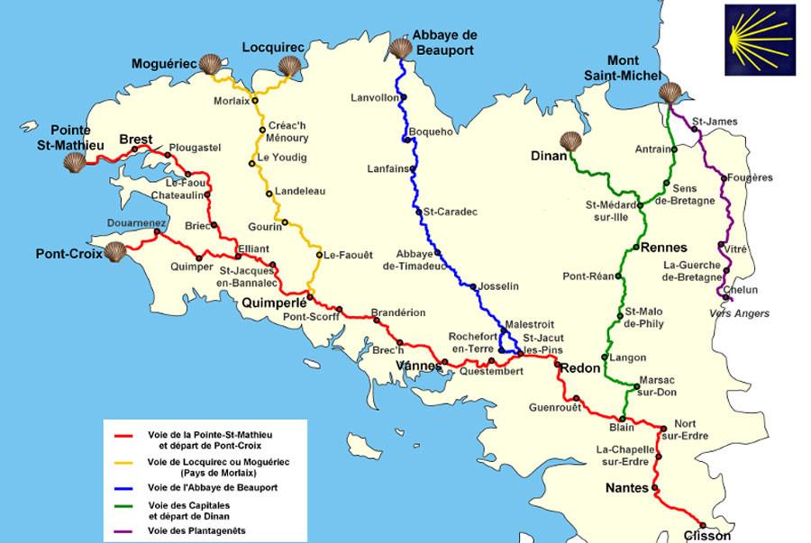 Carte chemin Saint Jacques de Compostelle