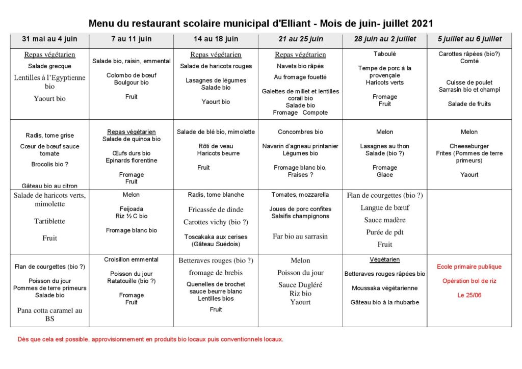 Menus restaurant scolaire juin-juillet 2021